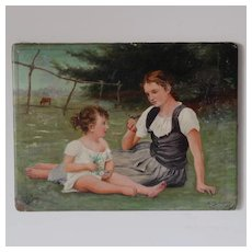 Charming Antique French Oil Painting Mother And Child In A Meadow.Circa 1892.