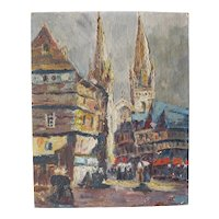 French Oil on Cardboard Animated View of Quimper Cathedral.Circa 1950-1960