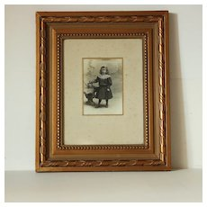 Adorable French Little Girl Photography,Gilded Frame.Circa 1900