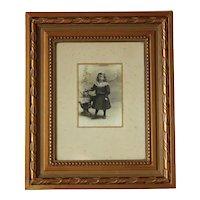 Adorable French Little Girl Photography,Gilded Frame.Circa 1900