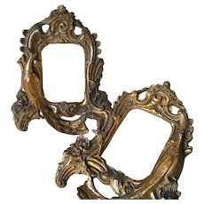 Uncommon Pair of French Gilded Plaster Frames, Peacock Decor .Circa 1900-1920