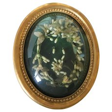 Beautiful Antique French Wedding Curved Glass Golden Frame, Wax Blossom Flowers .19th Century