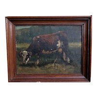French School Late 19th Oil Painting ,Portrait of a Cow .Unsigned