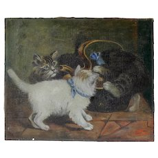 Adorable French Oil Painting Kittens Playing.Signed and Dated 1919.