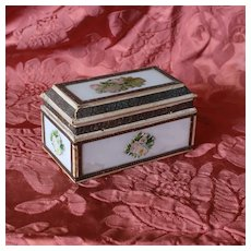 Charming French Eglomise Glass and Cardboard Box. Romantique Era 19th Century.