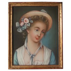 Gorgeous French 19th Century Pastel Young Lady Portrait Under Glass