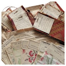 Uncommon Set of 22 French Fabric Samples, Different Stores.Early 20th Century.