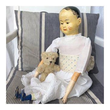 Large 24'' Mid 19th Century Papier Mache Shoulder Head German Doll.