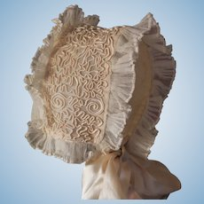 Exquisite Antique French Tulle and Silk Doll Bonnet Circa 1900