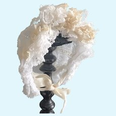 Lovely French Lace and Ribbon Doll Bonnet Circa 1900
