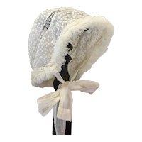 Sweet Antique French Doll Bonnet .Circa 1900