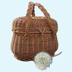 Charming Ancient Little French Normand Wicker Market Basket.