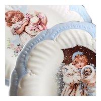 Charming Limoges Porcelain Pair of Plates Little Girls Decor 20th Century