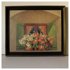 Nice French 20th Century Oil Painting  Flowery Window.