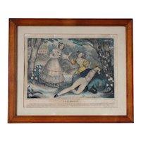 French 19th Century Romantic Engraving La Curiosité