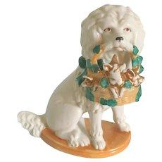 Charming German Porcelain Poodle Dog Holding a Basket.Circa 1920-1930