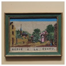 Lovely French 19th Century Beadwork Embroidery Animated Landscape