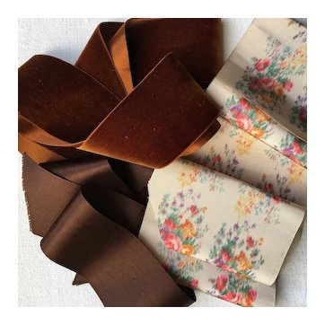 Set of Three Lengths of Pretty French Ribbon,Doll Project.