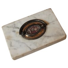 Uncommon French Marble and Brass Reliquary Paper Weight  19th Century