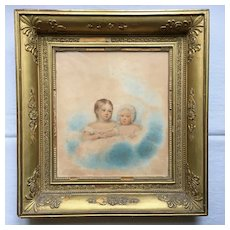 E.W Thomson (1770-1847) Portrait of Two Young Children Watercolor Over Pencil 1822