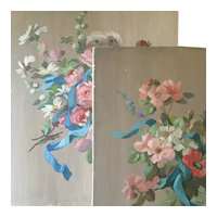 Pair of French Decorative Paintings ,Pretty Flowers Bouquet with Blue Ribbon.20th Century