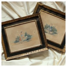 Adorable Pair of Engravings ''Le Petit Paresseux'' ''La Petite Laborieuse'' France 19th Century
