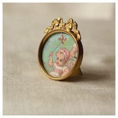 Lovely French Miniature Golden Brass Doll Easel Picture Frame Circa 1900