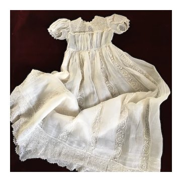 Gorgeous 19th century French Christening Gown Batiste and Irish Lace.