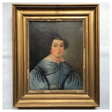 Pretty French Portrait of a Lady in Blue Dress .Early 19th Century