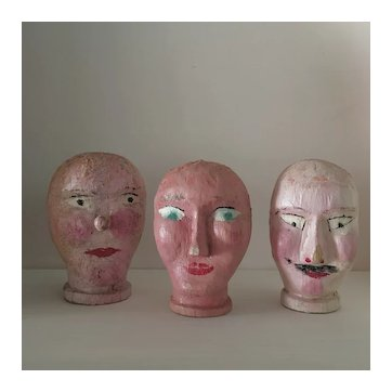 Three Little French Polychrome Carved Wood Puppet Heads .Circa 1900