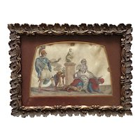 Antique Print on Silk ,Ancient Rome Curious Scene.France late 19th Century.