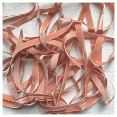 7 yards of Pretty Narrow French Salmon Pink Velvet Ribbon .Doll Project