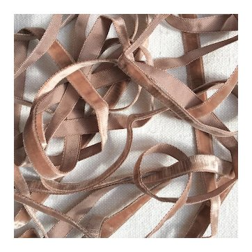 5 yards of Pretty Narrow French Glazed Brown Velvet Ribbon.Doll Project