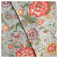 Set of Two Pieces of French Printed Linen,Floral Pattern.Circa 1920