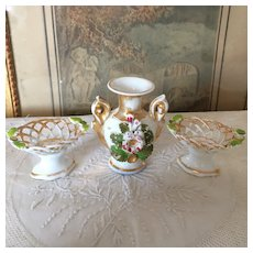 Set of Three Little Paris Porcelain Pieces for Dollhouse. 19th Century.