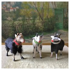 Charming Set of 3 French Little Animals, Goats and Ram .