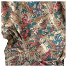 Pretty Piece of Old French Flowered Fabric .Circa 1880.