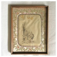Pretty French Boudoir Tray Framed Embroidered Baptism Souvenir Circa 1900
