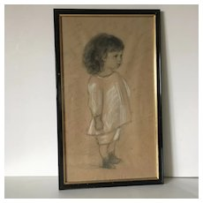 French Charcoal Drawing ,Adorable Little Girl .Early 20th century