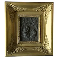 Antique French Framed Brass Bronze Bas Relief, The Holy Family .Early 19th Century.