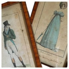 Paire of Antique French Fashion Engraving from the '' Costumes Parisiens '' Early 19th century.