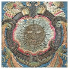 Gorgeous 18th Century French Silk Embroidery, Rare Decor of Sun.