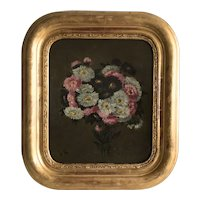 Pretty French 19th Century Oil Painting,Aster Flower Bouquet.