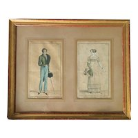 Antique French Fashion Engravings from the ''Costumes Parisiens'' .Early 19th Century