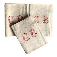 Set of 3 Pretty French Damask Napkins ,Tea Towel. Circa 1900