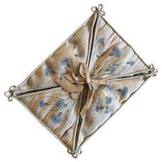 Charming French Silk Boudoir Hanky Case,Cornflower Pattern.Circa 1900