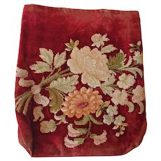 Pretty French Napoleon III Embroidered Velvet Wall Pocket. Work Bag.19th Century