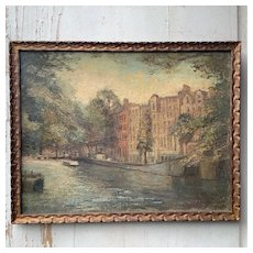 Oil on Panel by Faith Kenworthy-Browne (1882-1973) View of Amsterdam.Circa 1940-1950