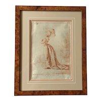 Pretty French 19th Century Fashion Lithograph ,Elegant and her Dog,Guber d'après J.B Huet.