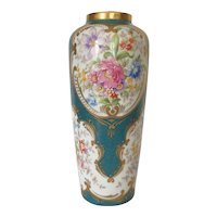 Beautiful Limoges Porcelain Vase,Floral Decor .France Circa 1950-1960